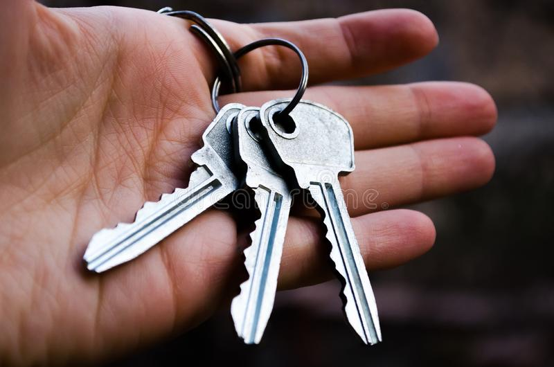 Keys Bunch of keys. Key in hand. Photography for websites about the sale of apartments and houses, real estate. New jelly. royalty free stock images