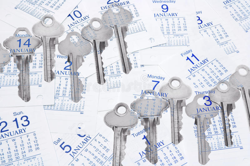 Keys and Calendar Pages stock image