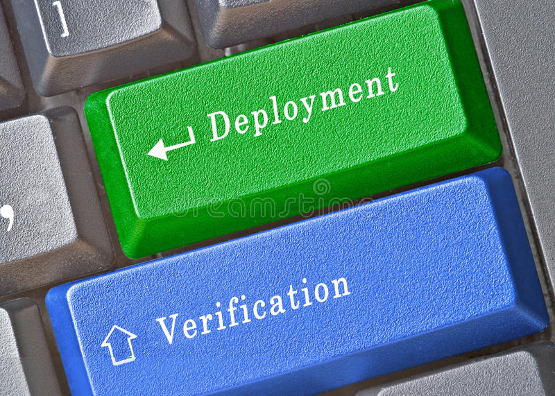 Keys for deployment and verification. Keyboard with keys for deployment and verification stock photo