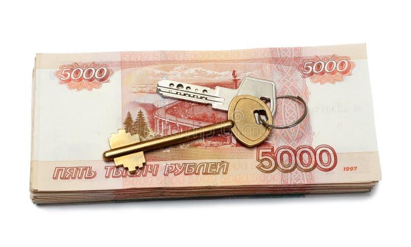 Keys Of Dwelling On Money Stack Royalty Free Stock Photography