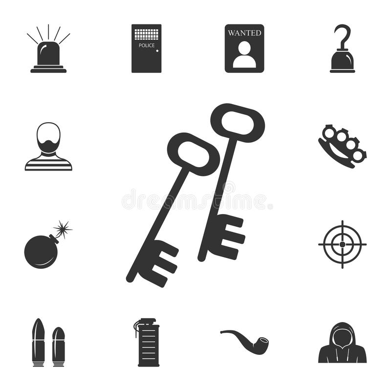Keys icon. Simple element illustration. Keys symbol design from Crime collection set. Can be used for web and mobile. On white background stock illustration