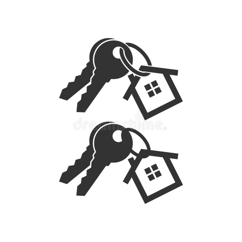 Keys with key chain ring and a house pendant. Pair of house keys. stock illustration