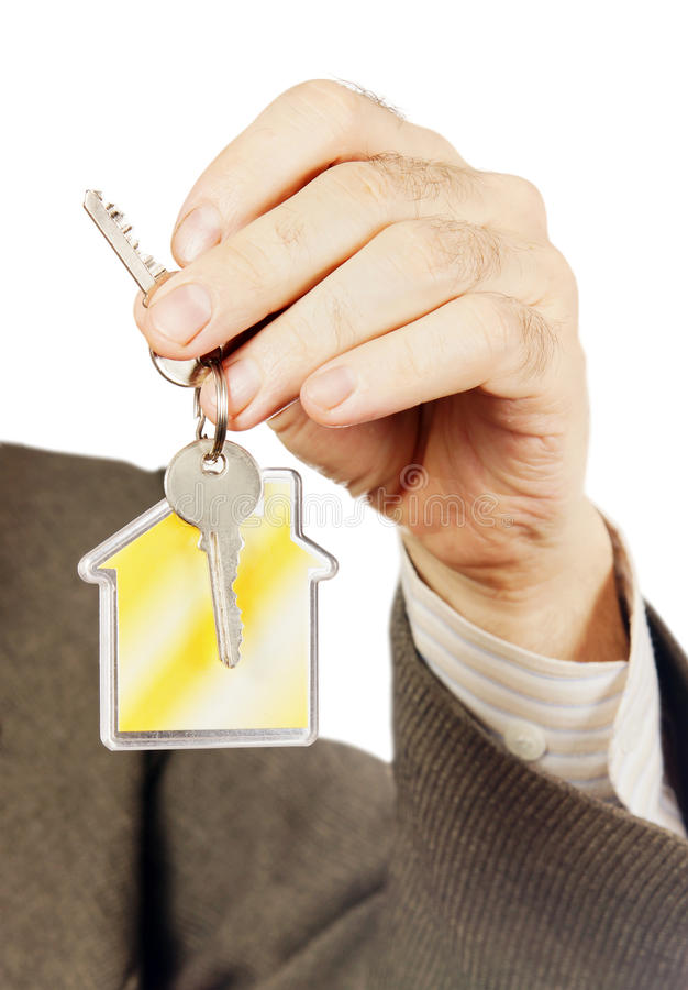 Keys with keychain in the form of a house royalty free stock photography