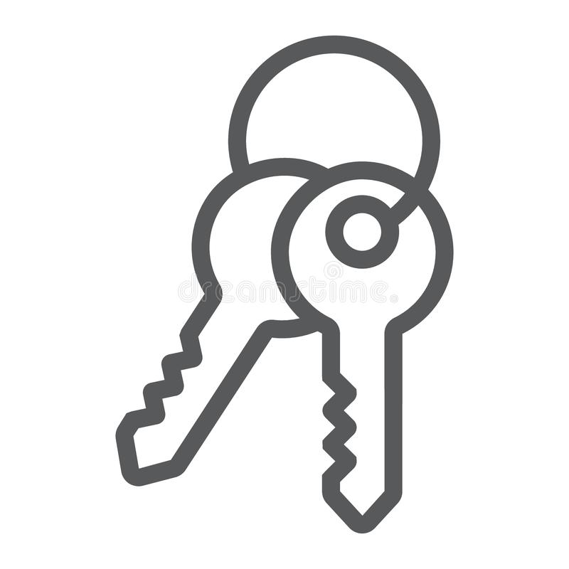 Keys line icon, lock and home, access sign vector illustration