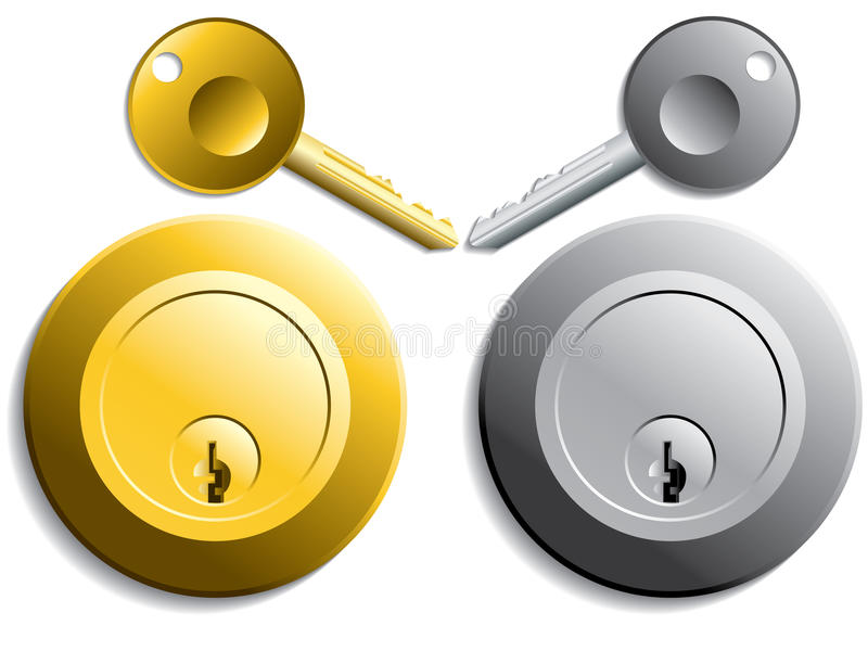 Keys and locks in gold and silver color