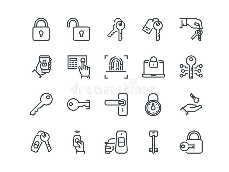 Keys and Locks. Set of outline vector icons. Includes such as Car Keys, Fingerprint and other. Editable Stroke. 48x48 Pixel Perfect vector illustration