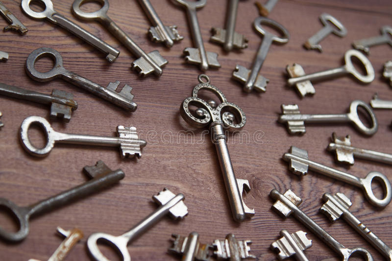 Keys locks on wooden background royalty free stock image