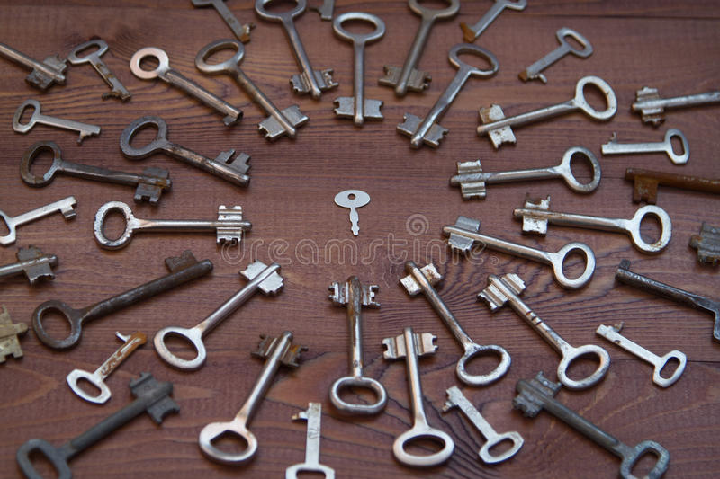 Keys locks on wooden background royalty free stock photo