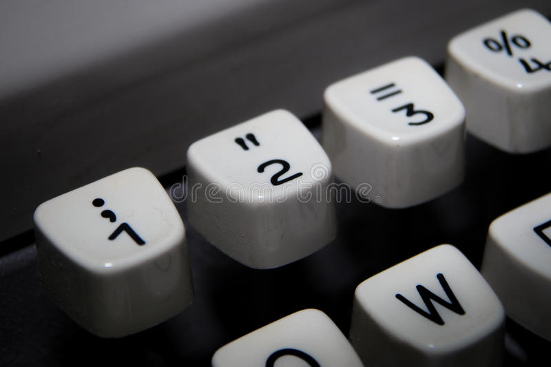 Keys 1,2 and 3 on old typewriter. Keys 1,2 and 3 on vintage typewriter keyboard royalty free stock photography