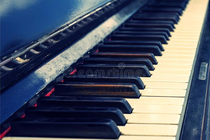 Keys of old vintage piano royalty free stock photography