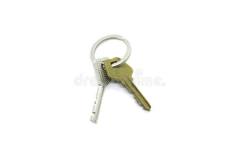 Keys on the ring isolated on white stock photography
