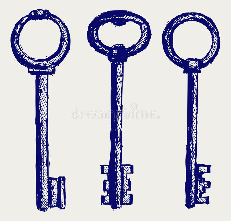 Download Keys sketch stock vector. Image of graphic, draw, icon - 26595746