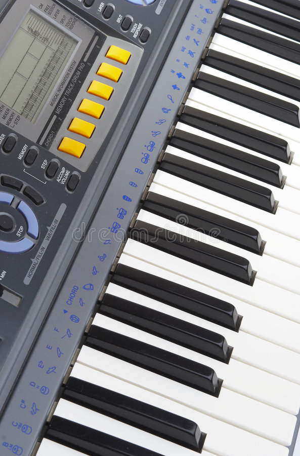 Keys of a synthesizer stock images