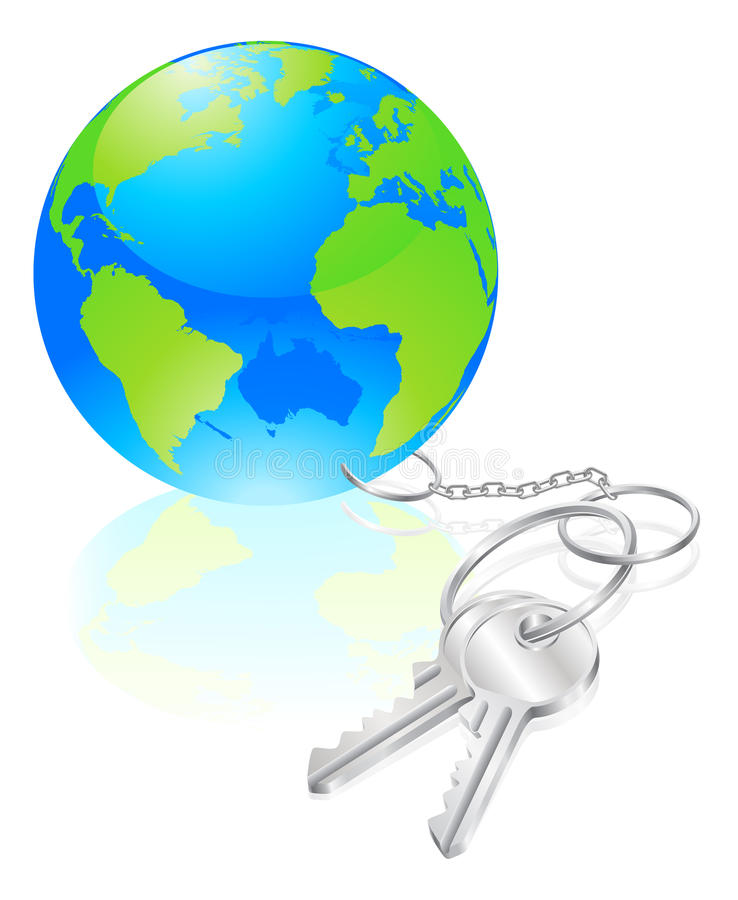Keys to the world concept. Metaphor for opportunity or success vector illustration