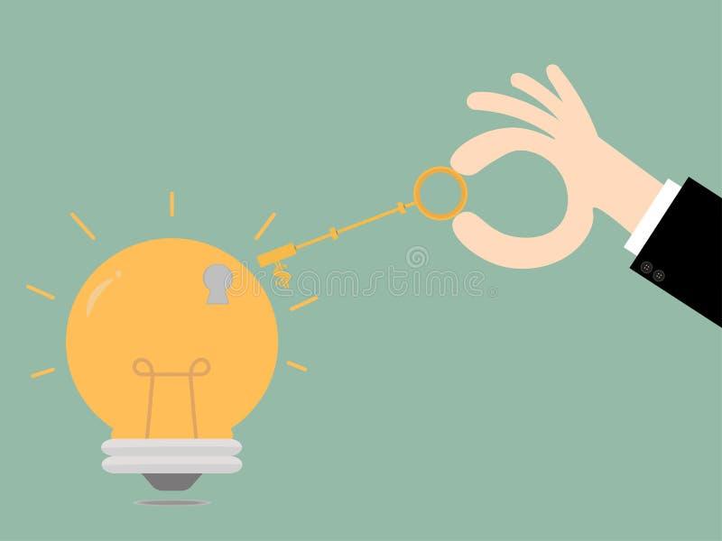 Keys unlocking ideas bulb.Key To Success. Business Concept Illus stock illustration
