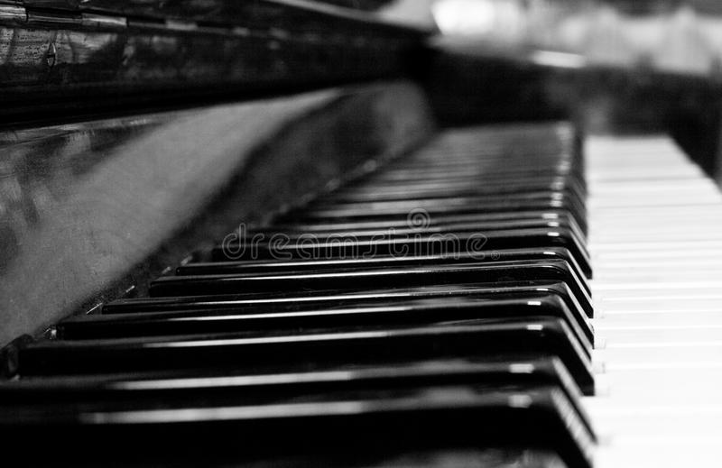 Keys of upright piano. Keys of old upright piano for the game of music stock image
