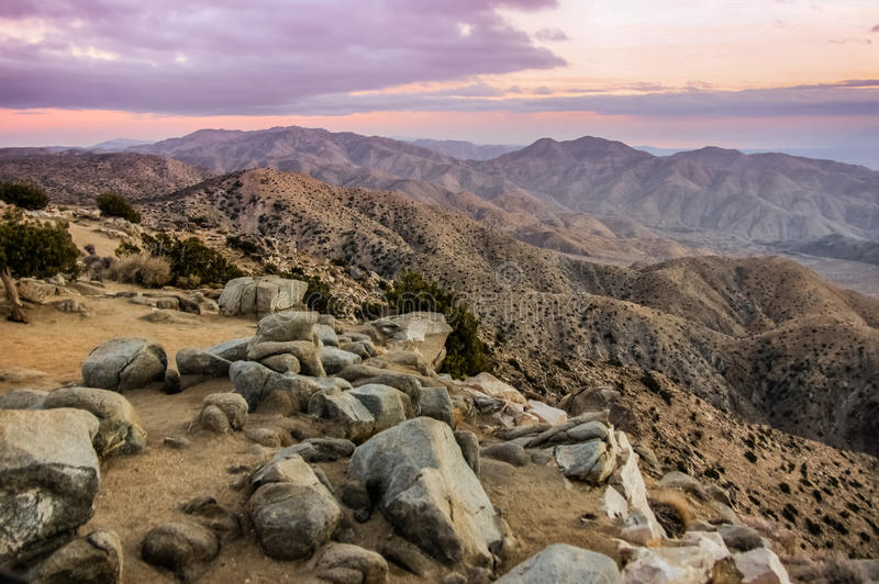 Keys View Sunset. Keys View Observation Point, Joshua Tree National Park, California, USA stock photography
