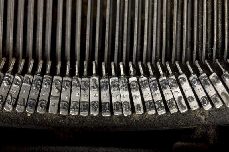 Keys of vintage typewriter stock images