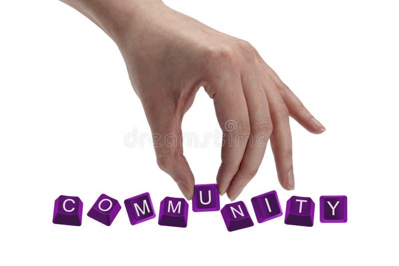 Keys the word community. Keys spelling the word community stock images
