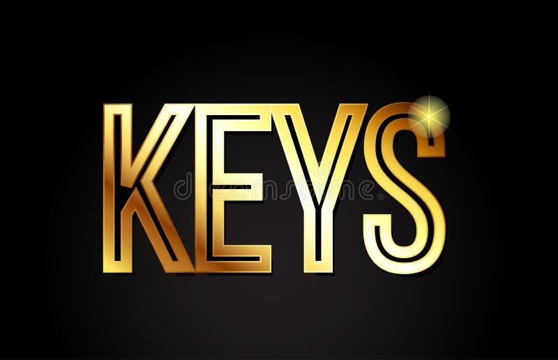 Keys word text typography gold golden design logo icon. Keys word typography design in gold or golden color suitable for logo, banner or text design vector illustration