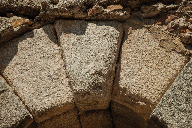 Keystone at the apex of a masonry arch at Merida royalty free stock photo