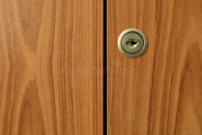 Keyway. On a Wood Wardrobe stock photos