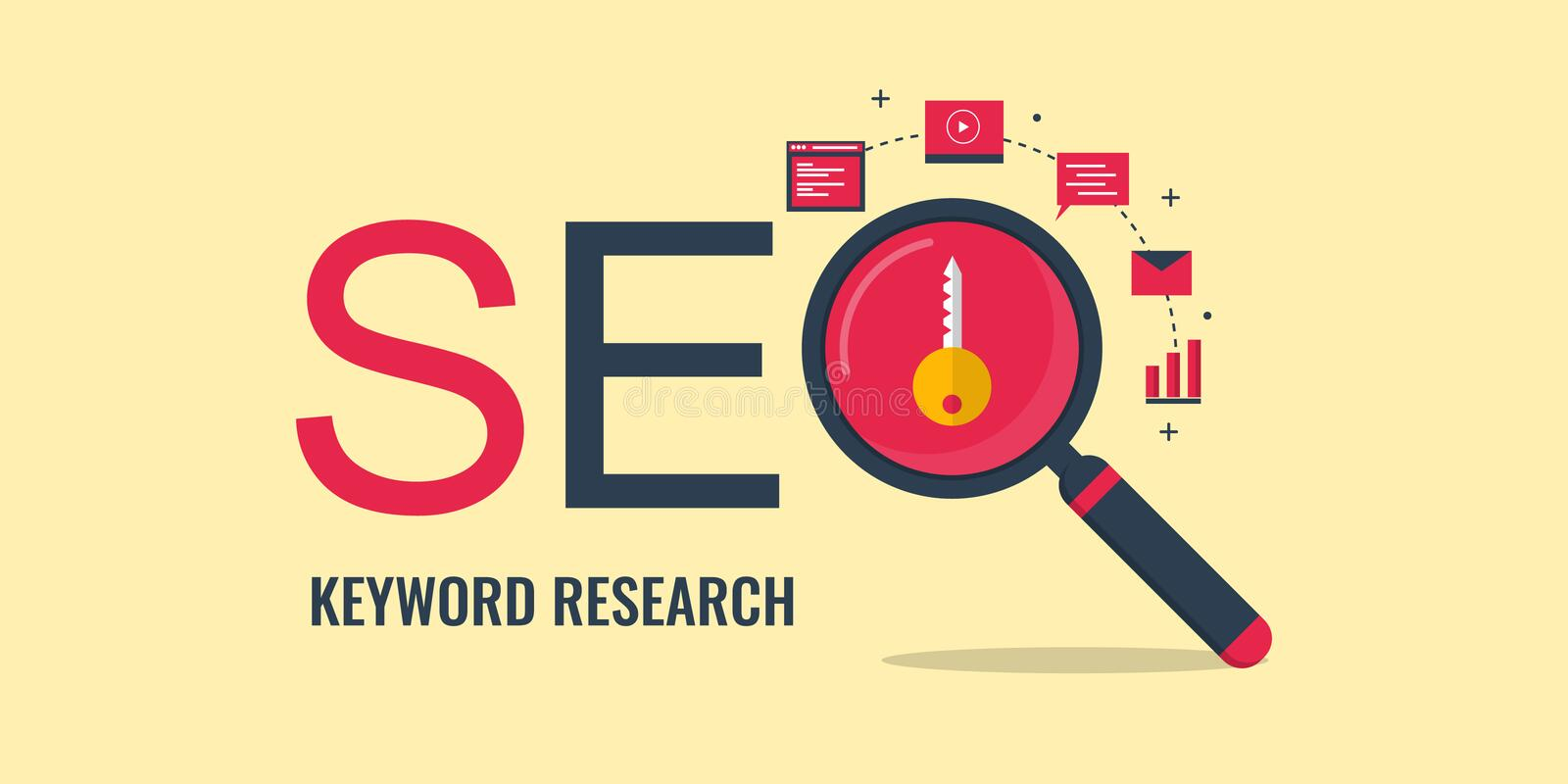 Keyword research - Search engine optimization - Keyword seo. Flat design seo banner. vector illustration