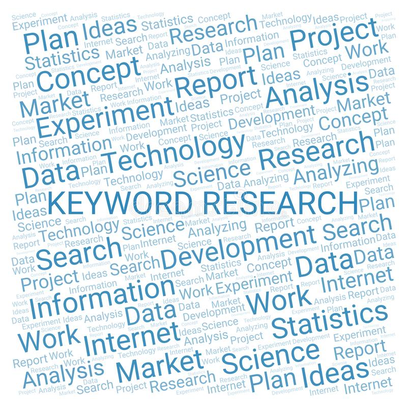 Keyword Research word cloud. vector illustration