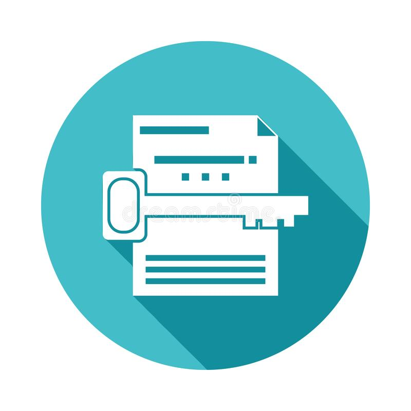 keyword search icon in Flat long shadow style stock illustration