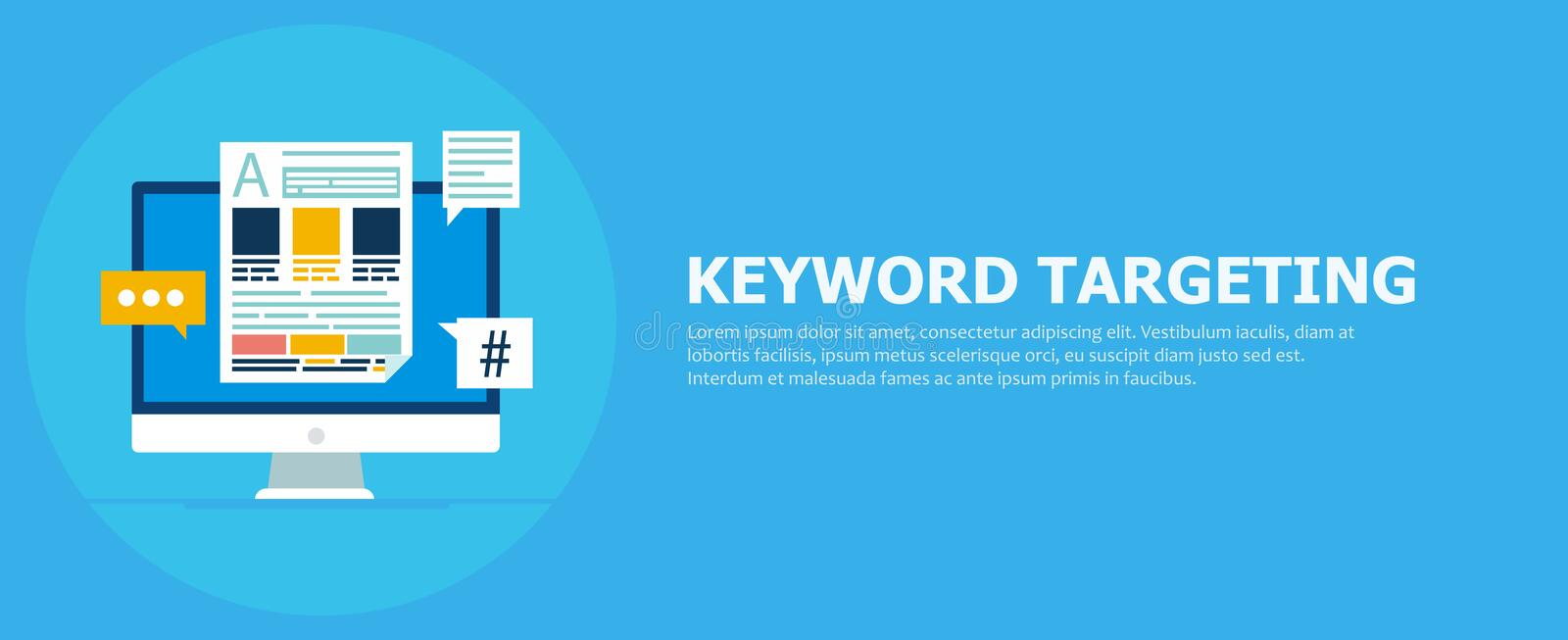 Keyword Targeting Banner. Computer with text and icons stock illustration