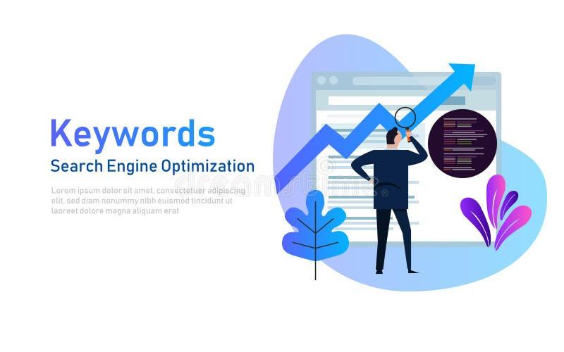 Keywording, SEO-sleutelwoordonderzoek die, sleutelwoorden optimalisering op zoekmachine rangschikken Vectorillustratie van mensen stock illustratie