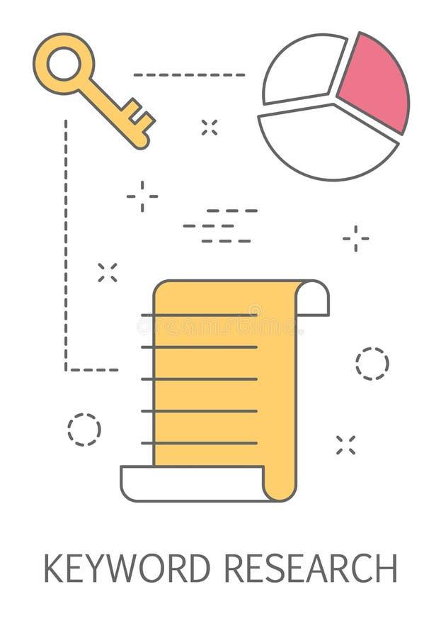 Keywording of sleutelwoordonderzoekproces voor SEO stock illustratie