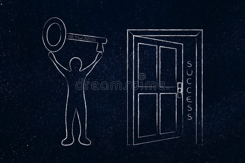 Keywords opening the door to success, man holding huge key stock photography