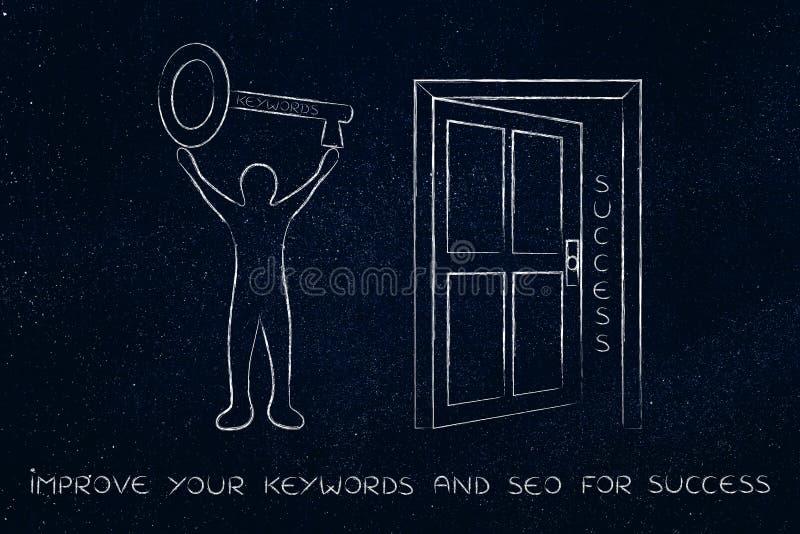 Keywords opening the door to success, man holding huge key vector illustration