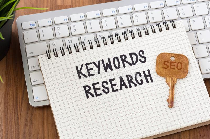 Keywords research for seo concept stock photography
