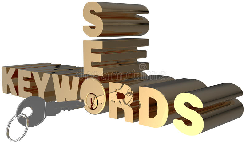 Keywords SEO search key words lock vector illustration
