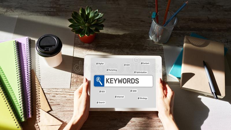 Keywords. SEO, Search engine optimization and internet marketing concept on screen. Keywords. SEO, Search engine optimization and internet marketing concept on royalty free stock image