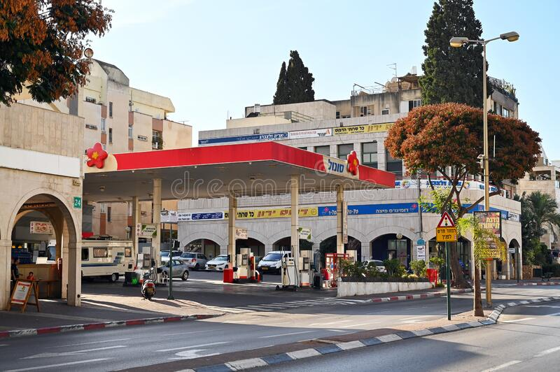Sonol gas station in Kfar Saba. KFAR SABA, ISRAEL - NOVEMBER 2019: Fuel station of Sonol Israel an Israeli fuel provider and the country`s third largest gas royalty free stock photography