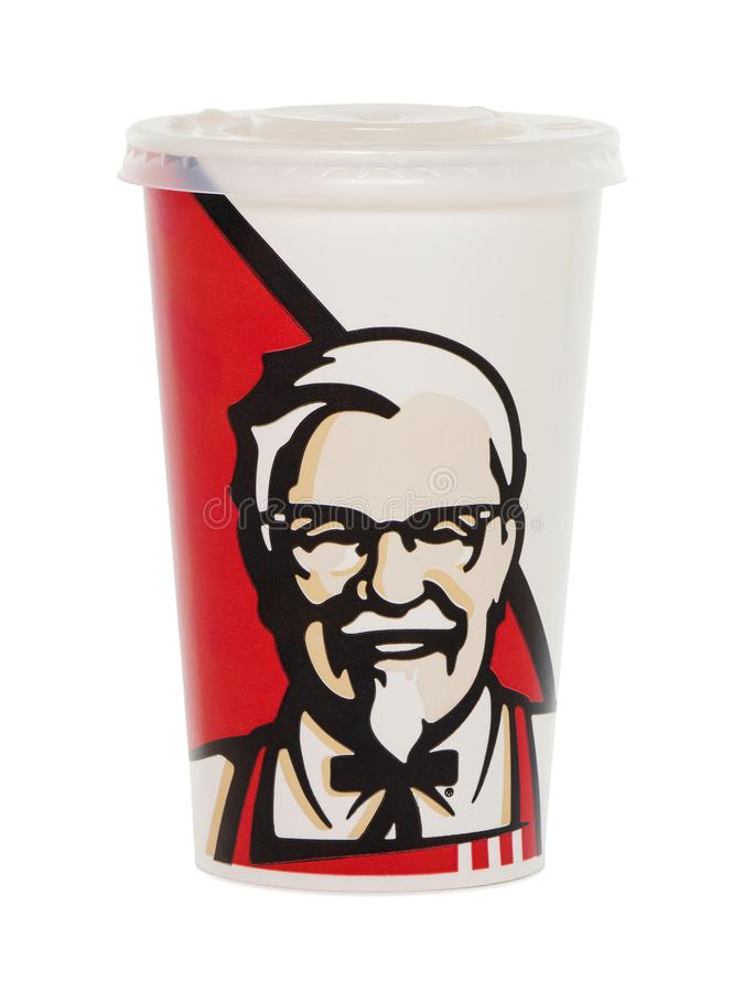 KFC soda paper cup with plastic lid. BUCHAREST, ROMANIA - September 1, 2017. KFC soda paper cup with plastic lid. KFC Kentucky Fried Chicken is a fast food stock photos