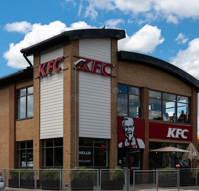 KFC Store Bracknell. Bracknell, United Kingdom - June 22 2019:   The KFC Drive Thru and restaurant on Bagshot Road royalty free stock photography