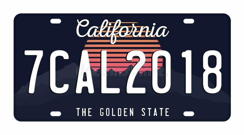 Kfz-Kennzeichen lokalisiert auf weißem Hintergrund Kalifornien-Kfz-Kennzeichen mit Zahlen und Buchstaben Ausweis für T-Shirt Graf stock abbildung