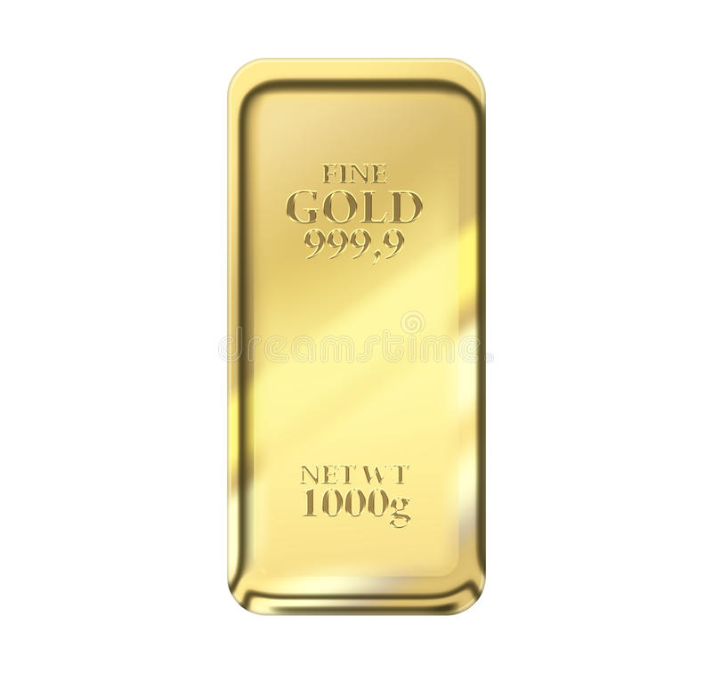 1kg gold bar. Isolated on a white background with clipping path royalty free illustration