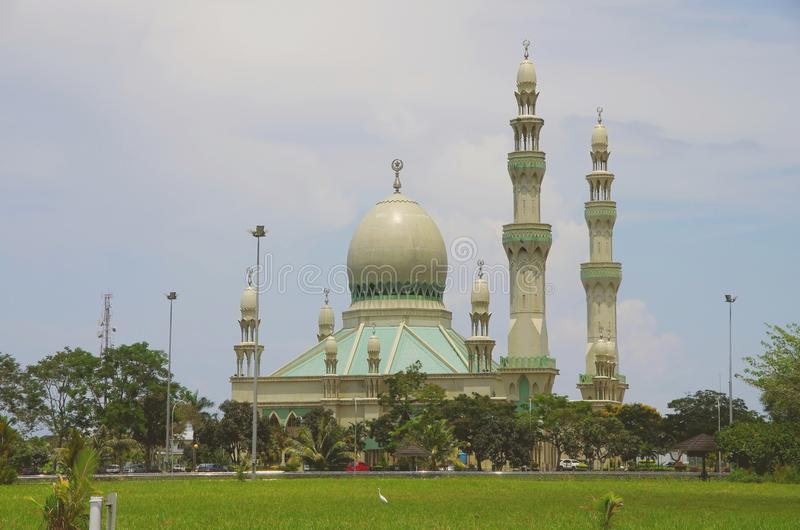 Kg Mumong Mosque, Kuala Belait. A beautiful and magnificent mosque some where in the Belait District, Brunei Darussalam. twin minarets royalty free stock image