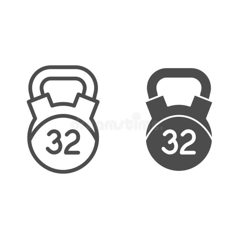 32 kg weight line and glyph icon. Kettlebell vector illustration isolated on white. Dumbbell outline style design stock illustration