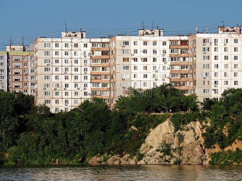 Khabarovsk outskirts. View of Khabarovsk city outskirts in summer day royalty free stock photo