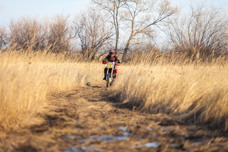 KHABAROVSK, RUSSIA - OCTOBER 23, 2016: Enduro bike rider on a field with dry grass in autumn royalty free stock photo