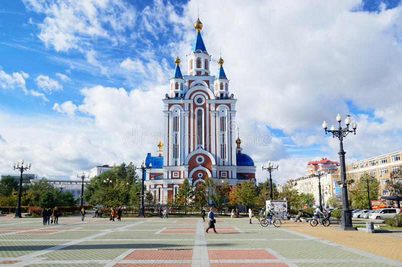 Khabarovsk Ryssland Komsomolskaya fyrkant royaltyfria bilder