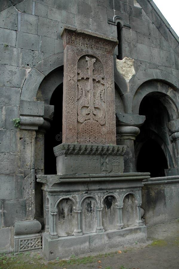 Khach (kors) i den Haghpat kyrkan Armenien royaltyfria foton