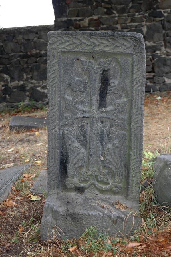 Khach (kors) i den Sanahin kloster, Armenien royaltyfri foto