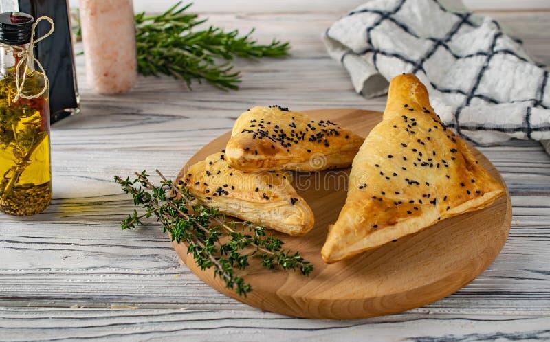 Khachapuri georgiano tradicional de la comida con la carne y el queso fotografía de archivo libre de regalías